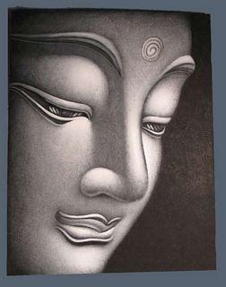 """Peinture """"Visage de Bouddha"""" L"""